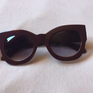 High end looking burgundy sunglasses